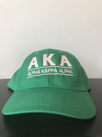 AKA Greek Letter Snapback Cap with Organization Name, Kelly Green (One Size)