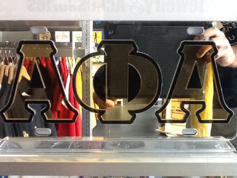 Alpha Greek Letter License Plate, Mirror/Black/Gold