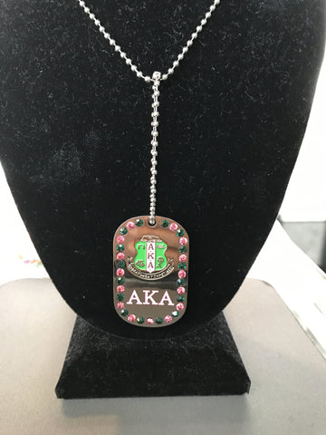 Alpha Kappa Alpha Bling Dog Tag