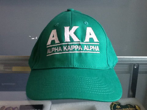 AKA Greek Letter Snapback Cap with Organization Name, Green (One Size)