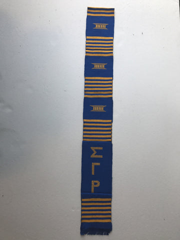 SGRho Kente Graduation Stole, Royal Blue