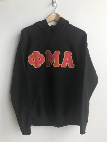 Phi Mu Alpha Greek Letter Hoodie Sweatshirt Black - EMBROIDERED with Lifetime Guarantee