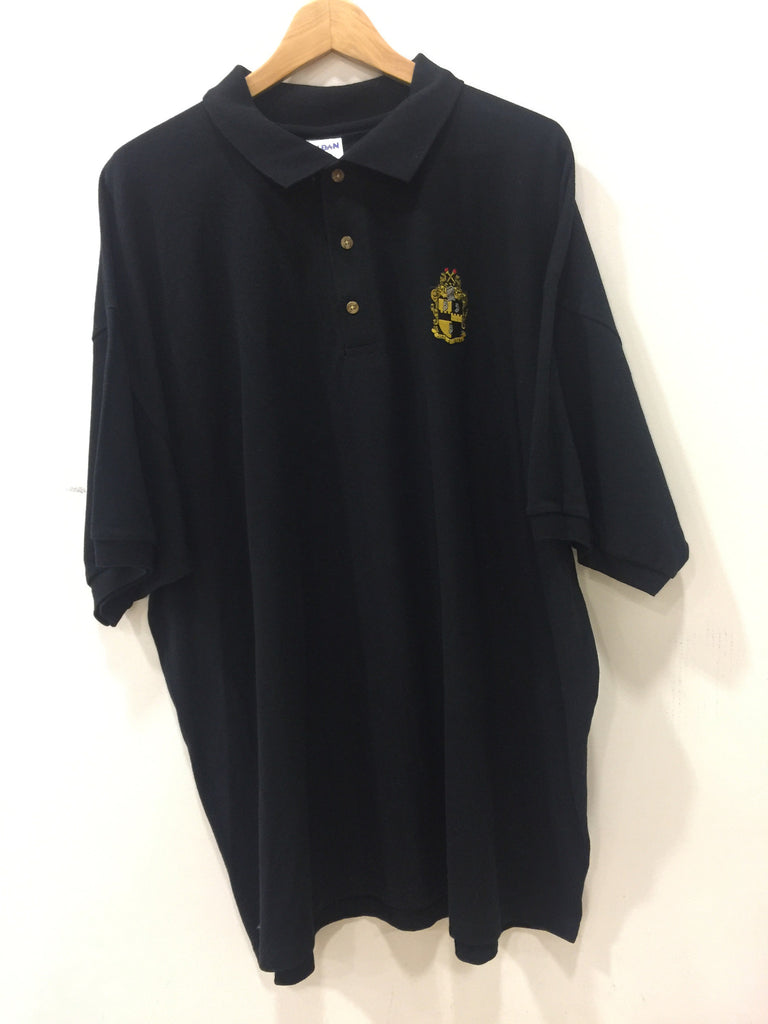 Size 2XL: Alpha Crest Polo Shirt, Black - EMBROIDERED with Lifetime Guarantee