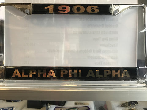 Alpha Founding Year License Plate Frame with Organization Name, Black