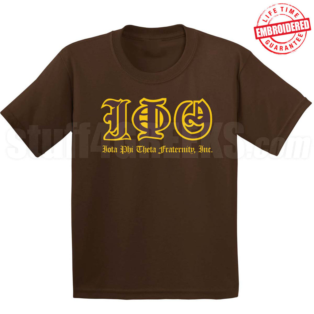 EMB- Old English Letters Tee- Iota Phi Theta - Pre-Order for Atlanta Greek Picnic Pick Up At Zeus Closet