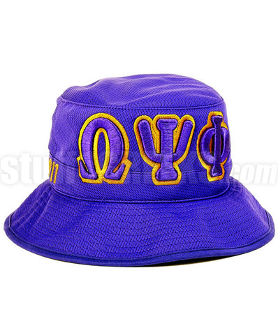 Omega Greek Letter Bucket Hat with Founding Year, Purple (One Size)