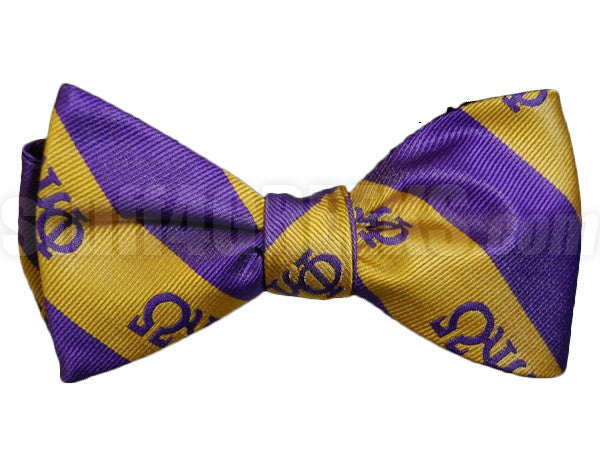 Omega Striped Greek Letter Bow Tie, Purple/Old Gold (One Size)