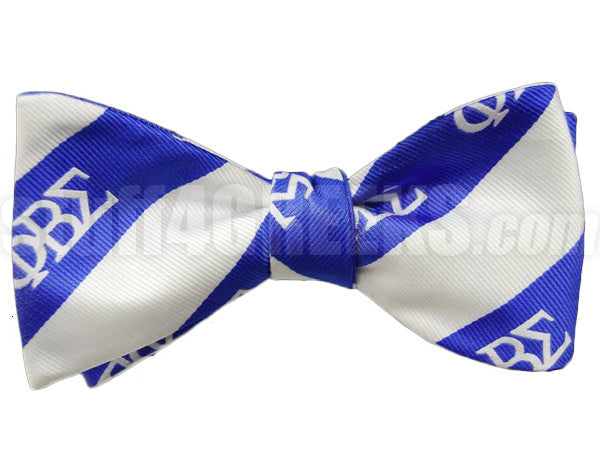 Sigma Striped Greek Letter Bow Tie, Royal Blue/White (One Size)
