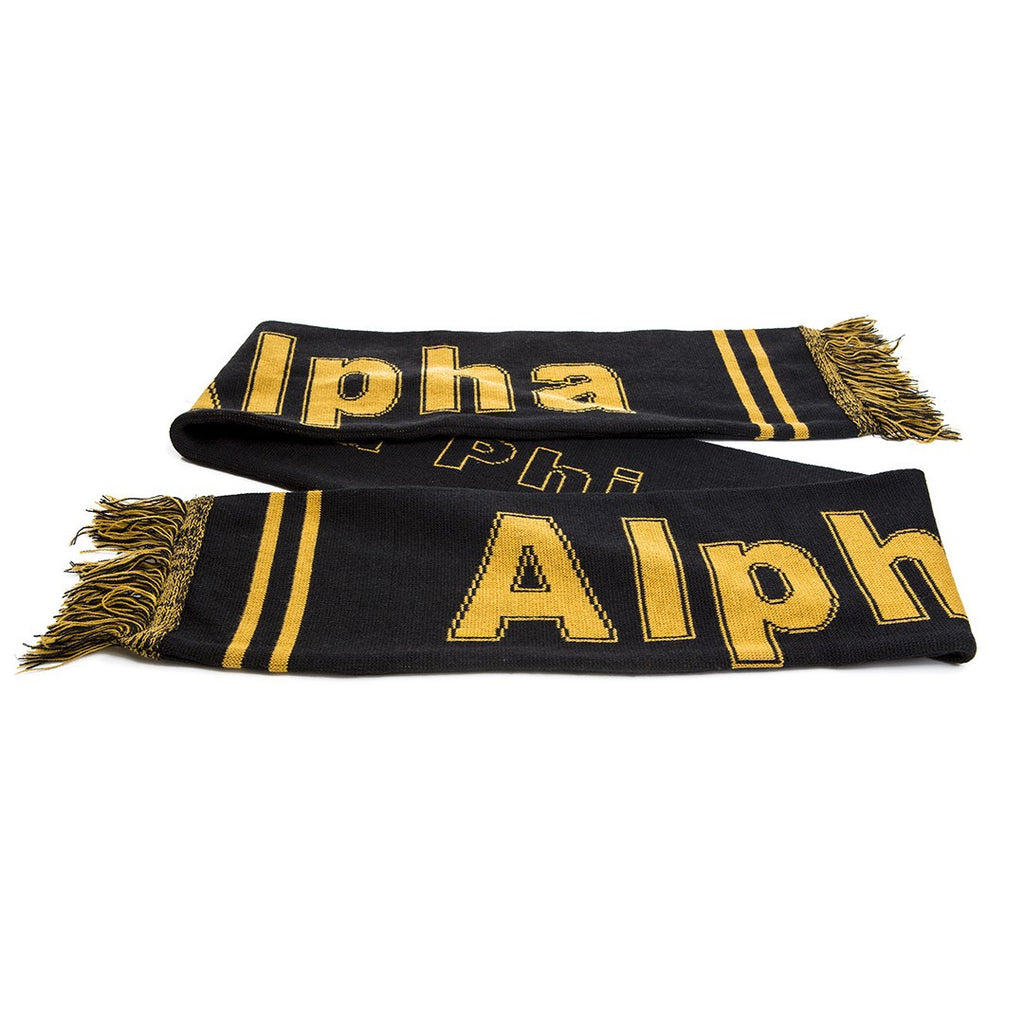 Alpha Knit Scarf with Fringe, Black (One Size)