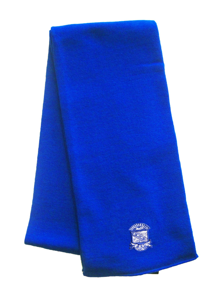 Sigma Knit Scarf with Crest, Royal Blue (One Size)