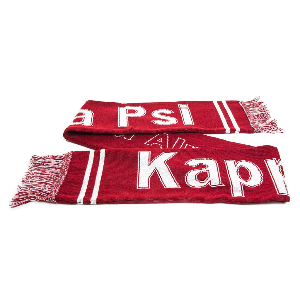Kappa Knit Scarf with Fringe, Red (One Size)