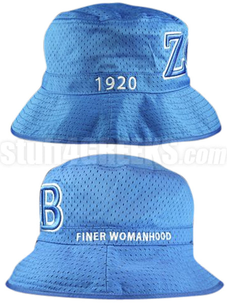 Zeta Greek Letter Bucket Hat with Founding Year, Blue (One Size)