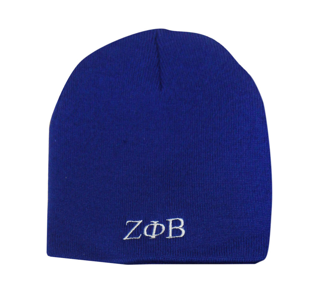 Zeta Greek Letter Beanie, Royal Blue (One Size)