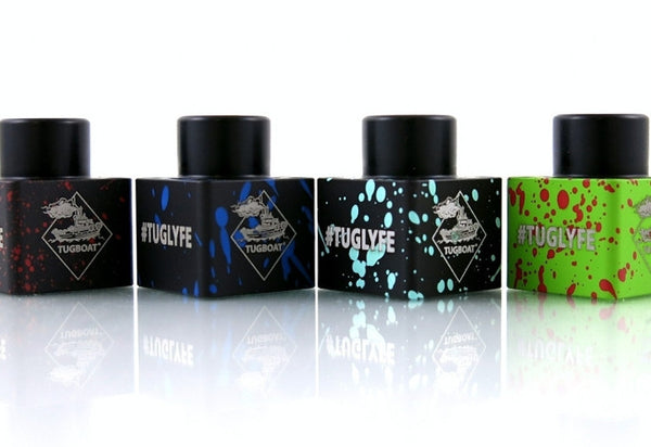 Tugboat v2 Square Top Cap-Accessories-Flawless-Black w/ Dark Blue Splatter-EraVape