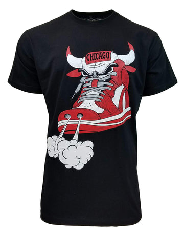 Chicago Red Bull Shoes Graphic Design Unisex Tee Black