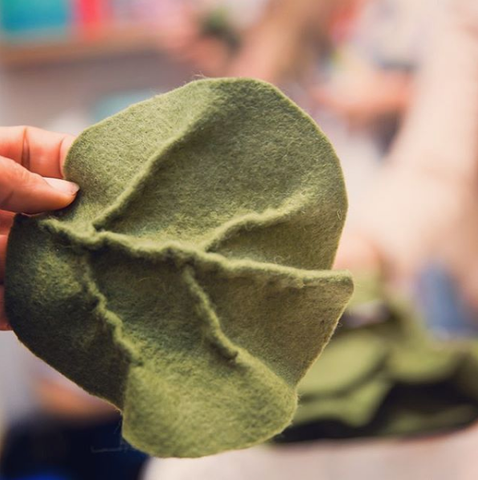hand made wool felt cabbage leaf cold therapy