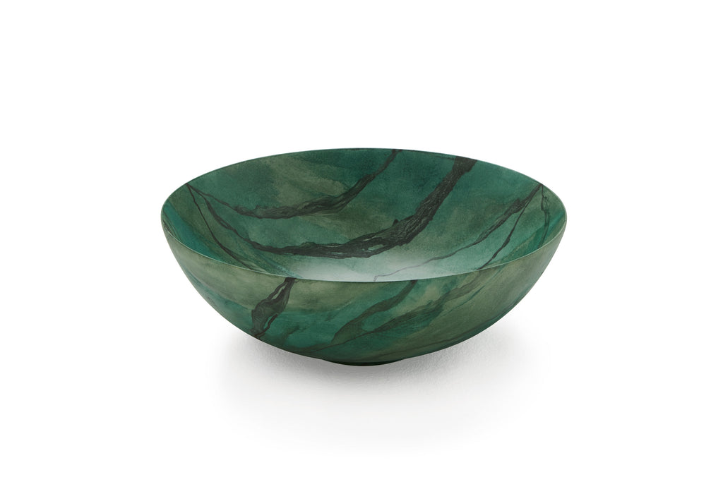 Green marble hand painted bathroom vessel sink.