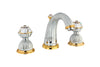 Artica Chrome Gold  two handles widespread bathroom sink faucet with Swarovski crystals