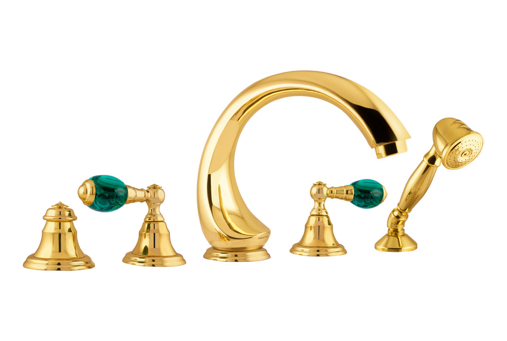 Atlantica Precious tub faucet set with hand shower trim. Malachite stone.