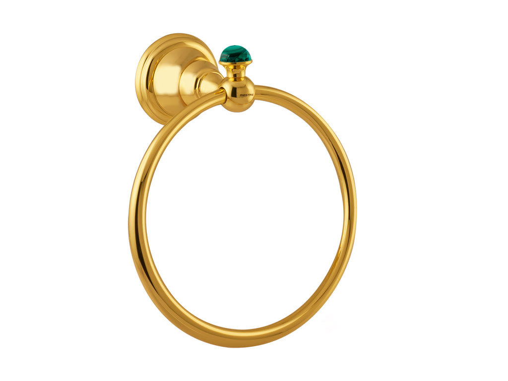 Atlantica Precious gold towel ring with malachite stone inlaid
