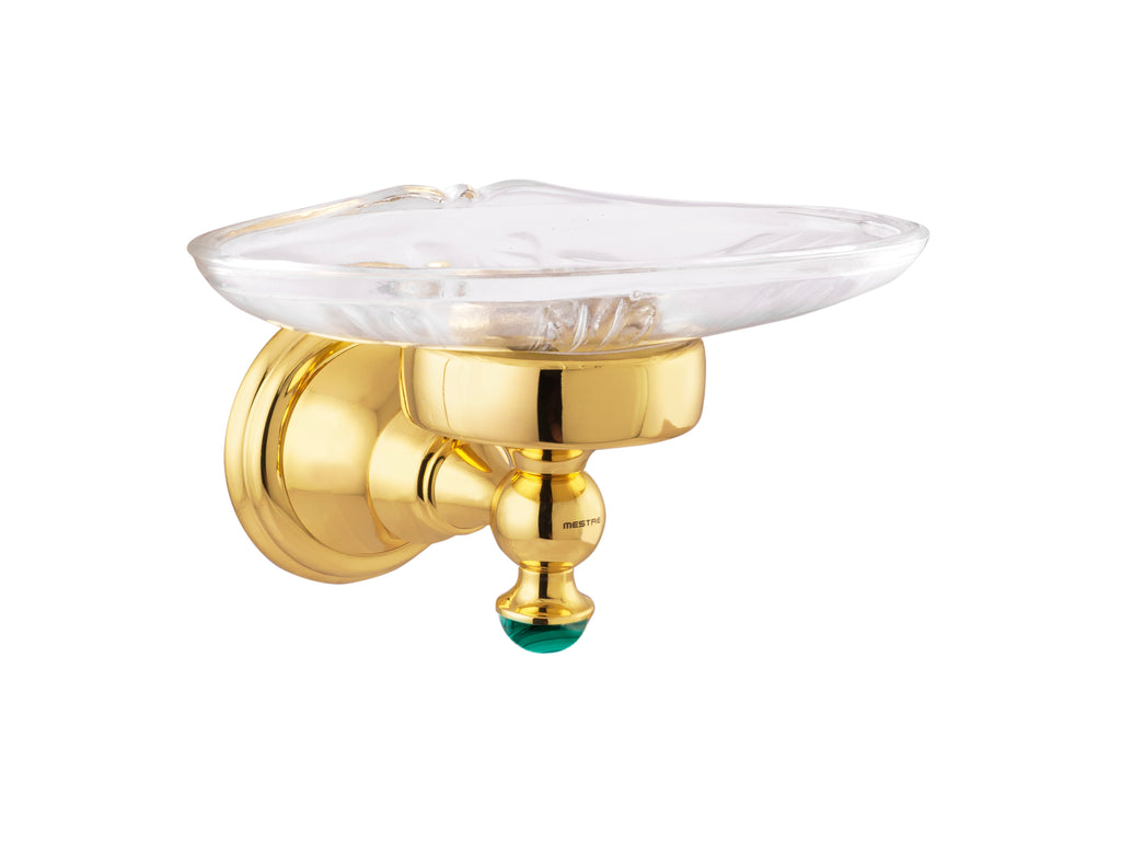 Atlantica Precious gold wall soap dish holder with Malachite stone inlaid