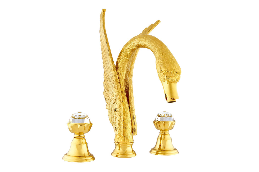 Antarctica Swan two handle bathroom widespread faucet with Swarovski crystals.