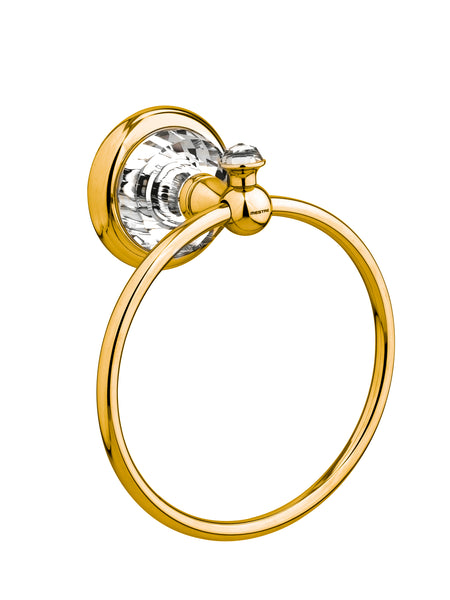 Strass Luxury gold towel ring with customized Swarovski crystals. Plain plate