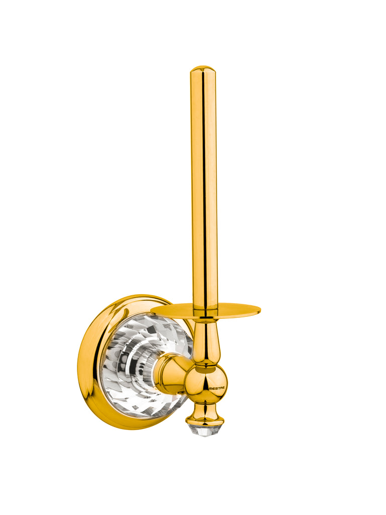 Strass Luxury gold Vertical toilet paper holder with customized Swarovski crystals. Decorated plate