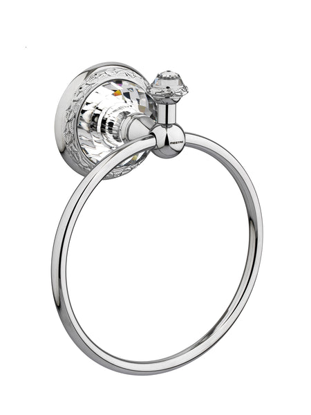 Strass Luxury chrome towel ring with customized Swarovski crystals. Decorated plate