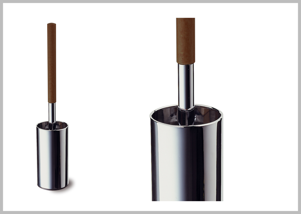 Secret Bath. Toilet brush holder set. Polished chrome-Walnut handle. Testa collection