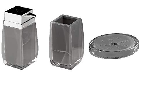 Square Countertop Gray Bathroom Accessories Set. Table Bathroom Set.
