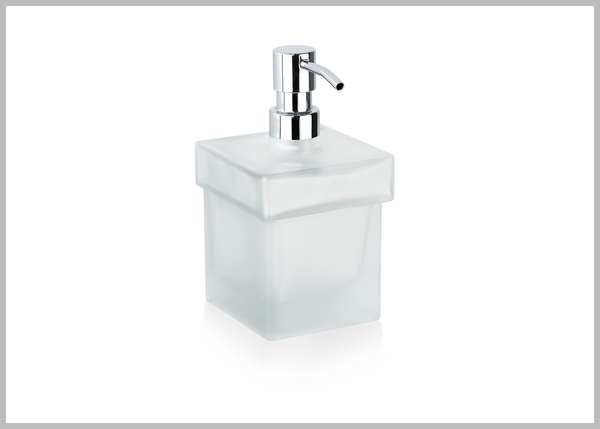 Orio Frosted glass table soap dispenser. Free standing large soap dispenser