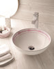 Lazos decorated bathroom vessel sink. Decorated white porcelain.