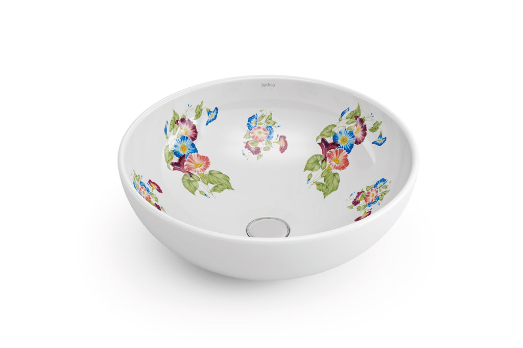 Marsella decorated bathroom vessel sink. Decorated white porcelain.