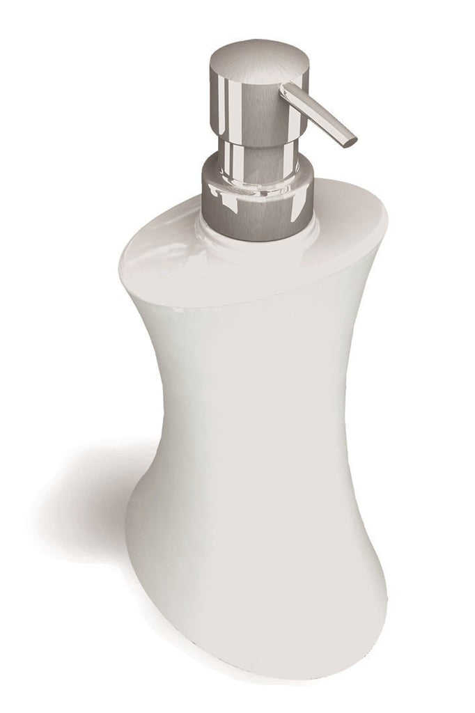 Amara soft white porcelain table soap dispenser.