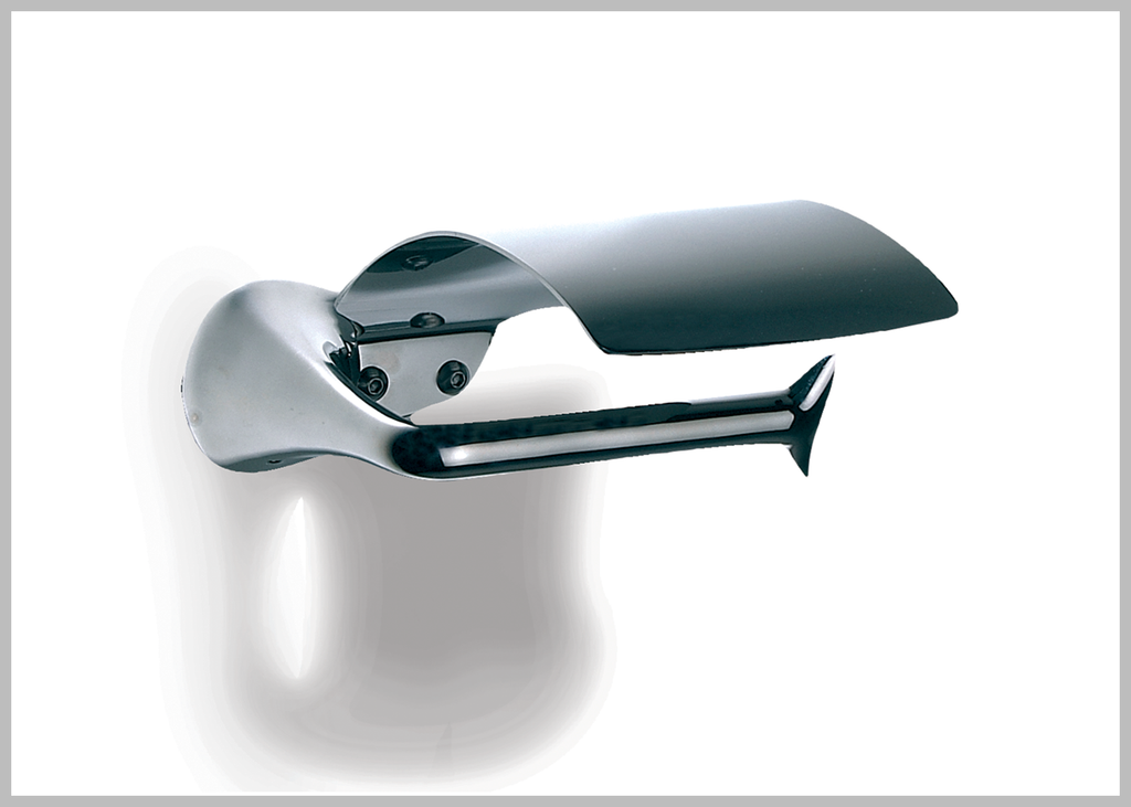 Amara polished stainless steel toilet paper holder with lid.