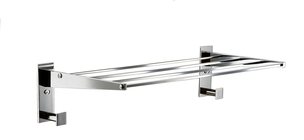 Chloe Polished chrome towel shelf with hooks/ Hotel style/ Towel rack