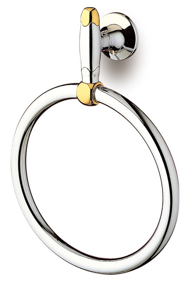 Filigrana Polished chrome and gold towel ring. Hand towel holder.