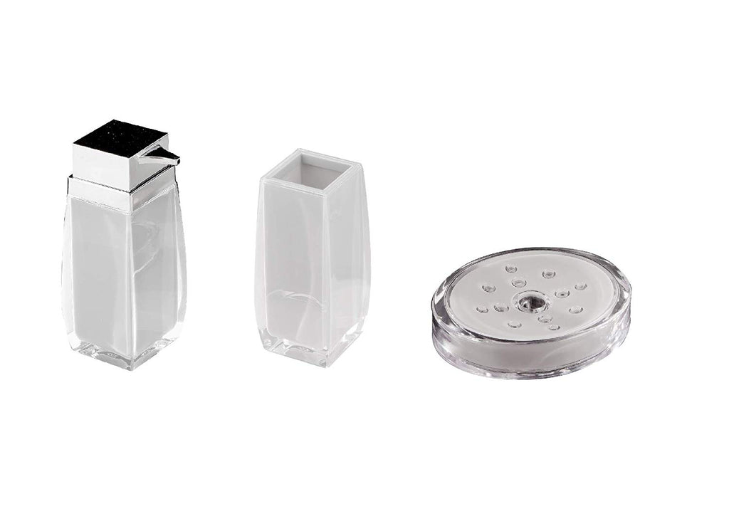 Square Countertop White Bathroom Accessories Set. Table Bathroom Set.