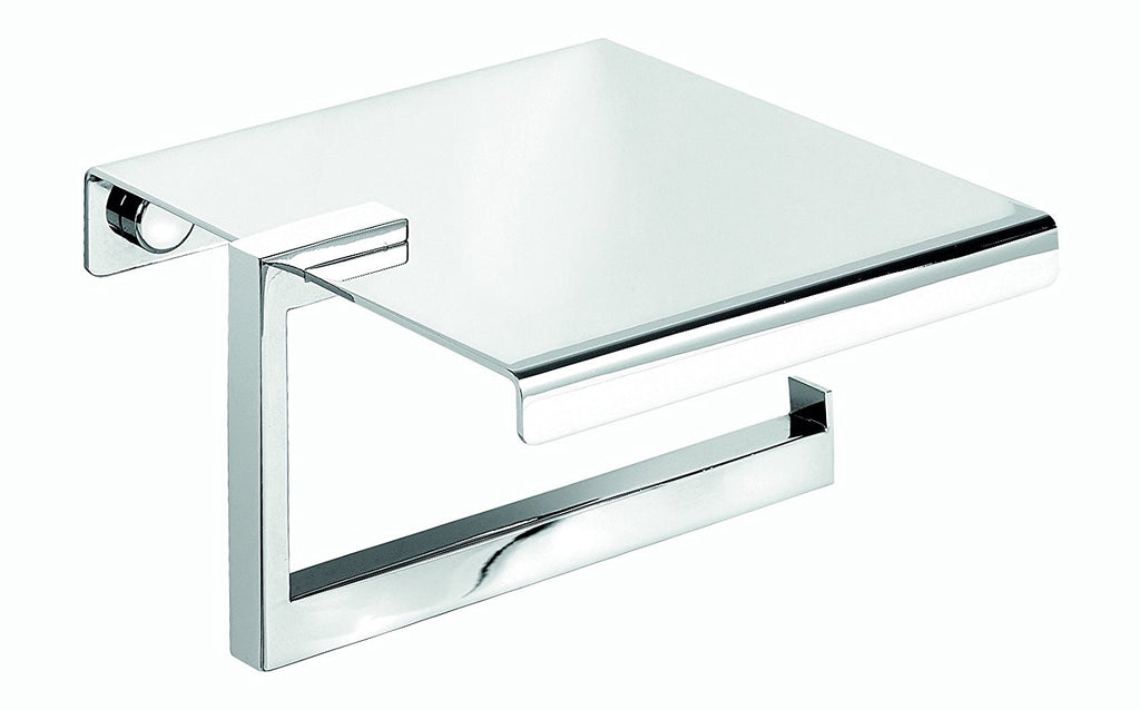 Secret Bath. Polished chrome toilet paper holder with lid. Sidney collection