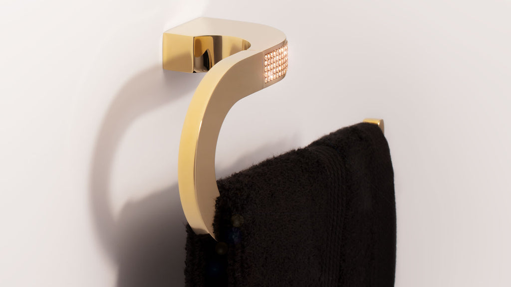 Cecilia Luxury Gold small towel ring. Gold Swarovski®crystals inlaid. Limited Edition