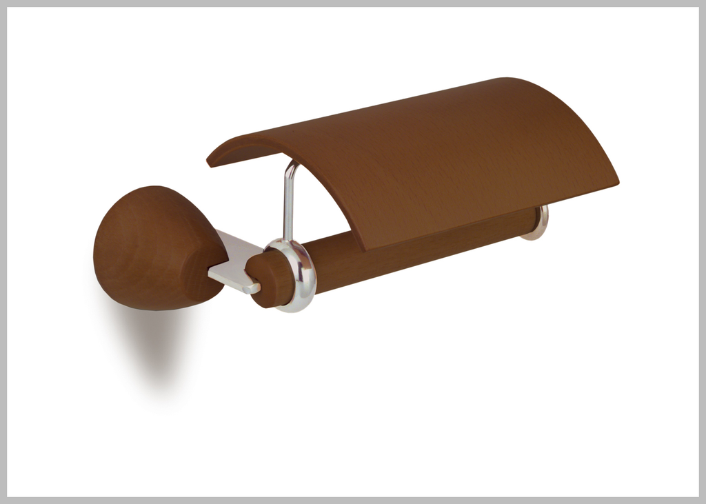 Testa chrome-walnut toilet paper holder. Bath tissue holder