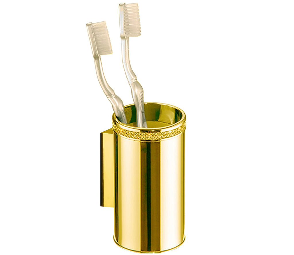 Cecilia luxury gold wall tootbrush holder.Gold Swarovski®crystals inlaid. Limited edition
