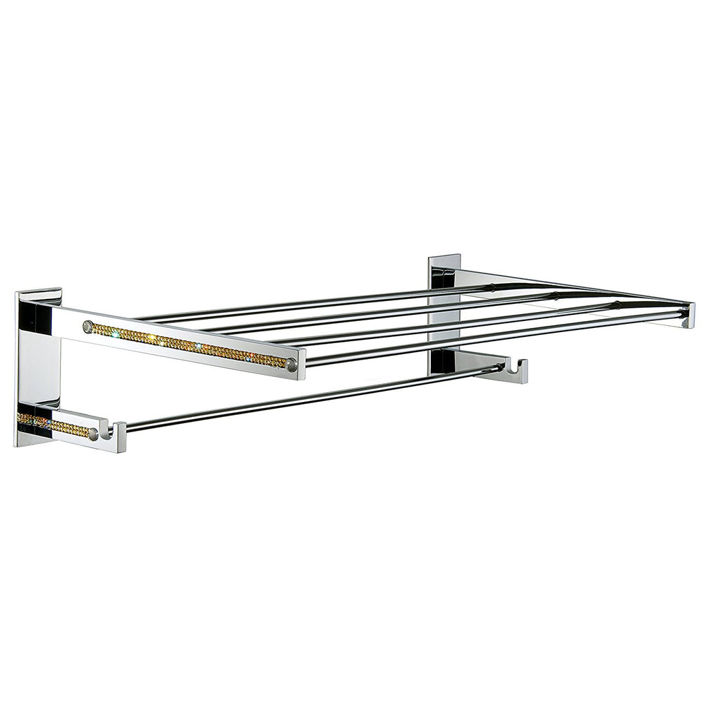 Cecilia Chrome Gold Swarovski® Crystals Towel Shelf. Hotel style towel rack