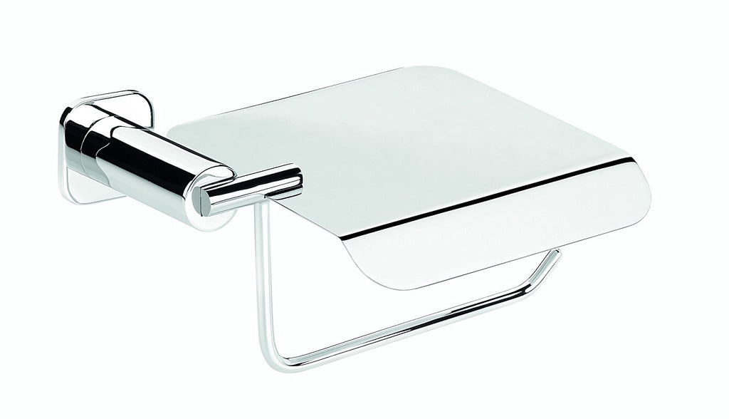 Jenny polished chrome toilet paper holder with lid. bath tissue holder
