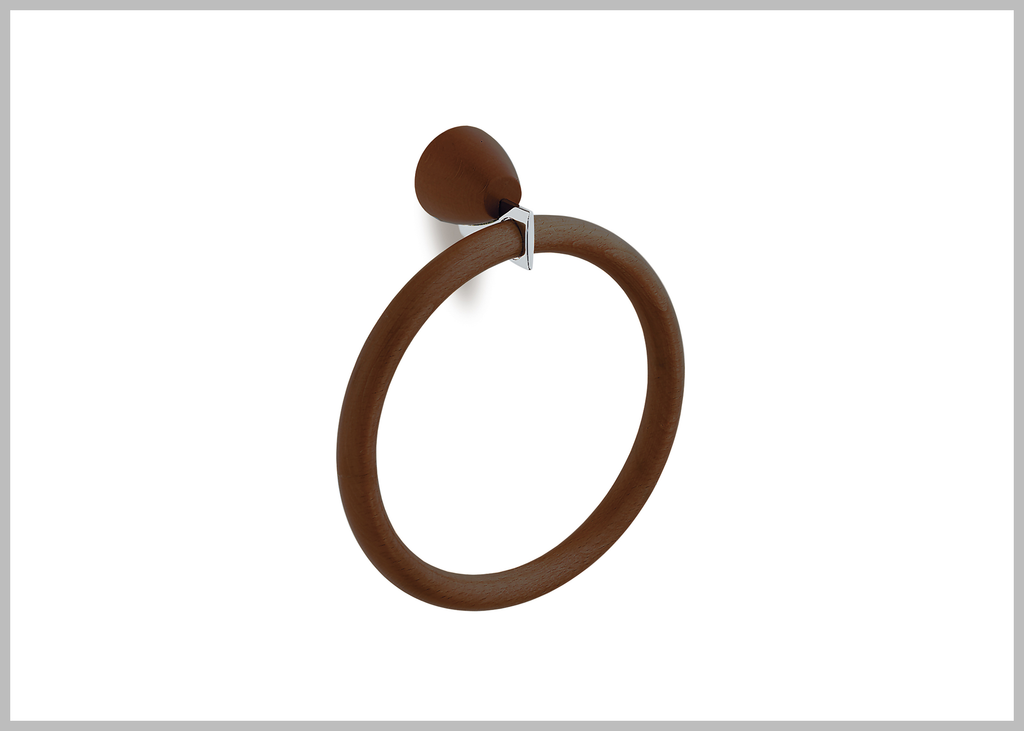 Testa chrome-walnut towel ring. Hand towel holder