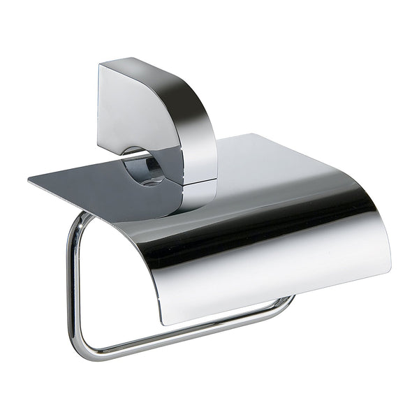 Chloe Polished chrome toilet paper holder with cover. Toilet accessories. Bath tissue holder