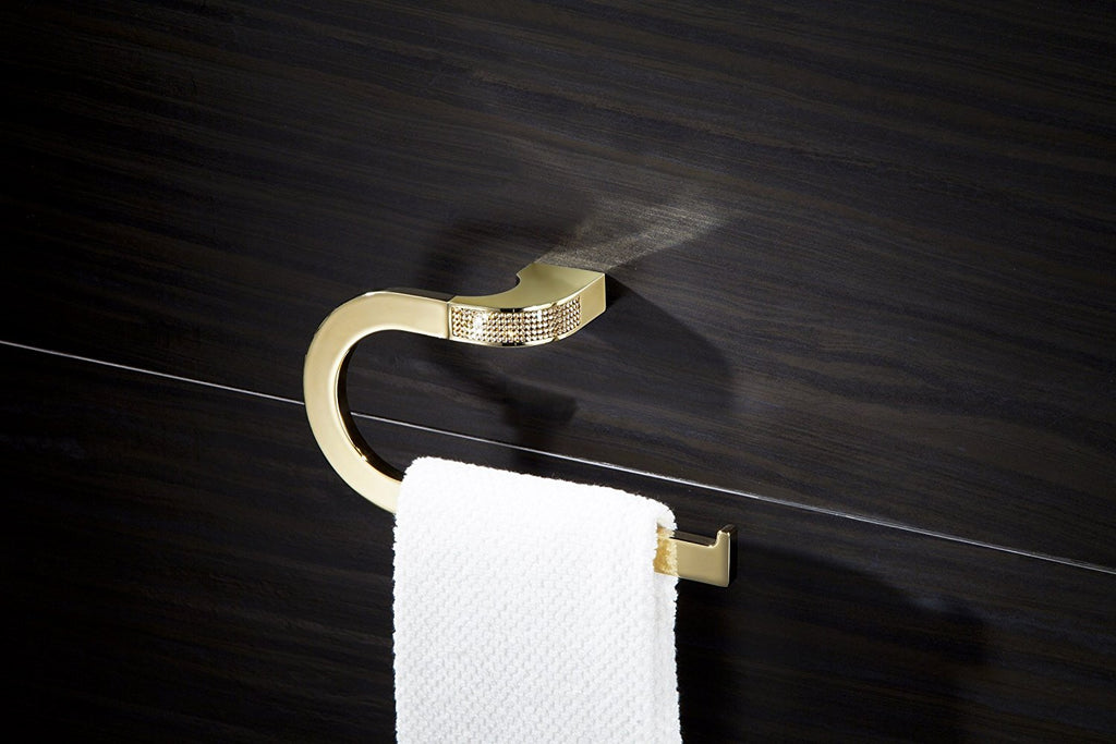 Cecilia Luxury Gold Large Towel Ring .Gold Swarovski®crystals inlaid. Limited edition