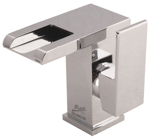 Technoled single hole bathroom sink faucet. Temperature sensor LED system.