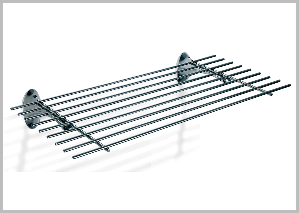 Amara polished stainless steel towel shelf hotel style.